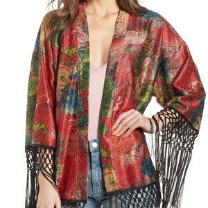 BLANK NYC Drifter Floral Fringe Trim Kimono Topper